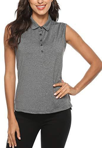 AjezMax Women's Golf Sleeveless Polo Quick-Drying Sports Shirts Darkgray XX-Large - PRTYA