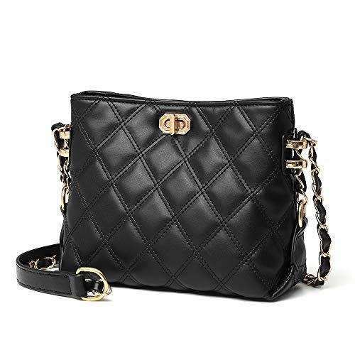 Small Crossbody Bags for Women Purses Fashion Leather Lightweight Handbags Shoulder Bag(Black)