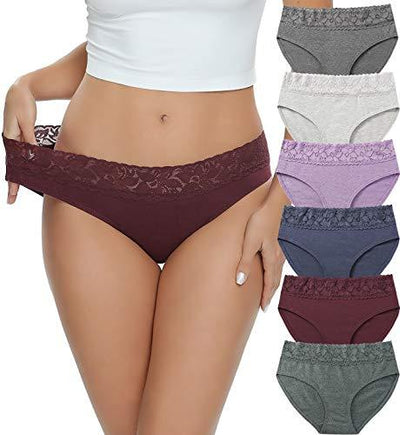 Cotton Hipster Panties for Women Lace Hiphugger Panties Bikini Underwear Pack (3020M,Solid LP) - PRTYA