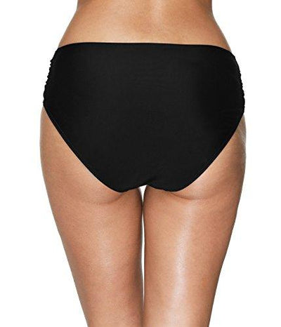 ATTRACO Womens Solid Swim Brief Ruched Bikini Bottom Tankini Shorts Black Large - PRTYA
