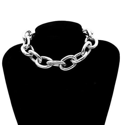YRY Women Chunky Punk Metal Necklace Fashion Heavy Chain Collar Choker Bracelet Set Women Gift (Necklace)