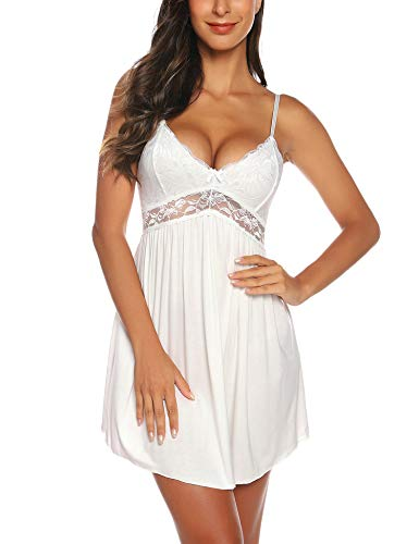 RSLOVE Women White Slip Dress Lace Lingerie Sleepwear Chemises V-Neck Full Slip Babydoll Nightgown Dress White XL