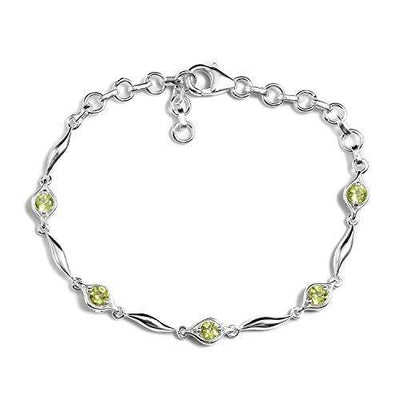 "925 Sterling Silver Round Peridot Station Link Bracelet for Women Fashion Jewelry 7.25"" Cttw 0.8"