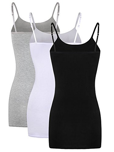 WILLBOND 3 Pieces Women Basic Long Tanks Adjustable Spaghetti Strap Camisole Top (Grey, White and Black, X-Large)