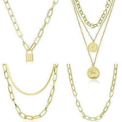GYSONG Paperclip Necklace Choker Gold Necklaces For Women 14k Real Gold Plated Gold Chain Necklaces For Women Dainty Layered Necklace Coin Locket Necklace Set For Teen Girls 4 Pieces