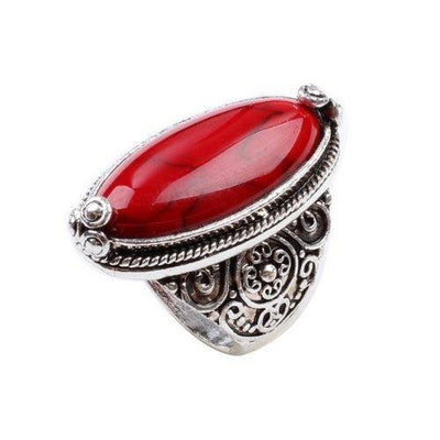 LadayPoa Charming 925 Sterling Silver Cubic Zirconia Ring with Red Synthetic-Turquoise Stone Size 7