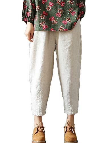 LaovanIn Women's Linen Cropped Pants Tapered Ankle Capris Trousers Elastic Waist Medium Beige