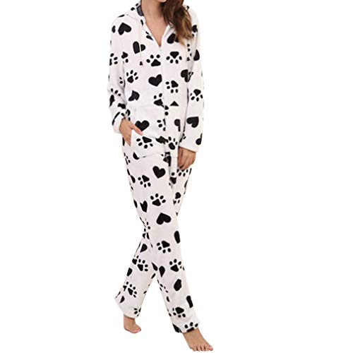 Women's Plush Warm Hood Onesie Pajama Christmas Flannel Hooded One Piece Pajamas Jumpsuit (S, Heart White)