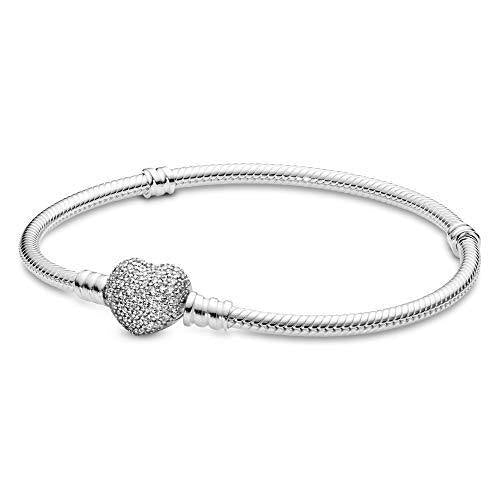 PANDORA Jewelry Moments Sparkling Heart Clasp Snake Chain Charm Cubic Zirconia Bracelet in Sterling Silver, 7.1""