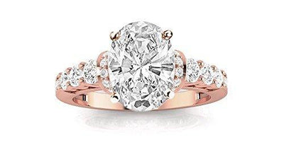 1.75 Ctw Oval Cut Designer Four Prong Pave Set Round Diamonds 14K Rose Gold Engagement Ring (H-I Color I1-I2 Clarity 1 Ct Center)