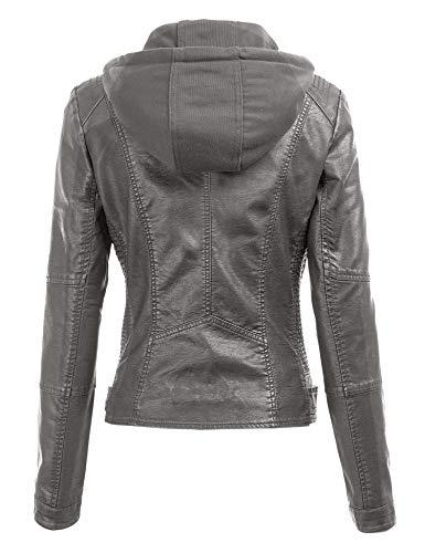 Made By Johnny MBJ WJC1044 Womens Faux Leather Quilted Motorcycle Jacket with Hoodie S Grey