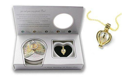 Pearlina Cultured Wish Pearl in Oyster Necklace Set Gold Plated Cage Locket w/ Stainless Steel Chain 18""