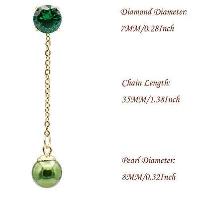 Fashion Green Pearl Ball Drop Dangle Earrings with Chain for Women Girl Hypoallergenic Cubic Zirconia Stud Earring Jacket Enhancers