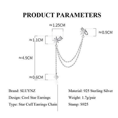 SLUYNZ 925 Sterling Silver Fashion Star Cuff Earring Chain for Women Teen Girls Star Crawler Earring Wrap Earrings (One Earring(Left)-Silver)