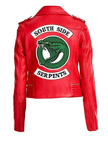 Women Serpent Red Faux Leather Jacket with Single Snake Gang Logo (Small)