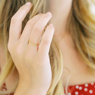 HONEYCAT Dotted Crystal Ring in Gold, Rose Gold, or Silver | Minimalist, Delicate Jewelry (Rose Gold, 7)