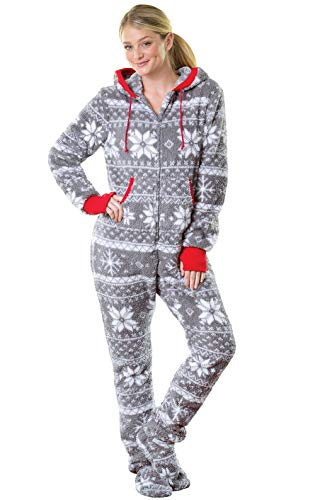 PajamaGram One Piece Pajamas for Women - Fleece Womens Onesie, Gray, S, 4-6