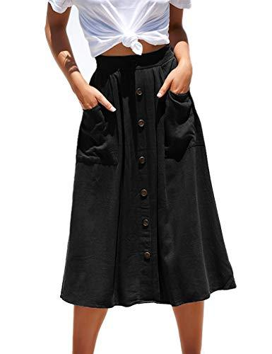 Naggoo Pleated Midi Skirts for Women Button Down High Waist A-Line Skirt (M,Black)
