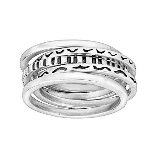 Silpada 'Antilles' Set of Five Stacking Rings in Sterling Silver, Size 6