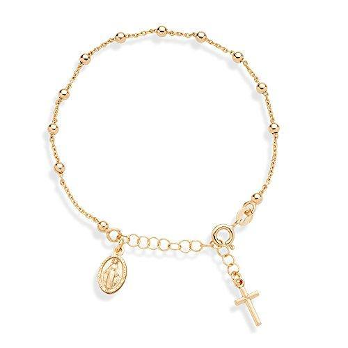 "Miabella 18K Gold Over Sterling Silver Italian Rosary Cross Bead Charm Link Chain Bracelet for Women Teen Girls, Adjustable 6-7 or 7-8 Inch 925 Made in Italy (6"" to 7"")"