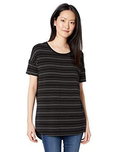 Amazon Brand - Daily Ritual Women's Jersey Rib Trim Drop-Shoulder Short-Sleeve Scoop-Neck Tunic Shirt, Black-White Stripe, Medium - PRTYA