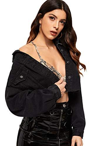 Floerns Women's Casual Drop Shoulder Ripped Crop Denim Jacket A-Black M