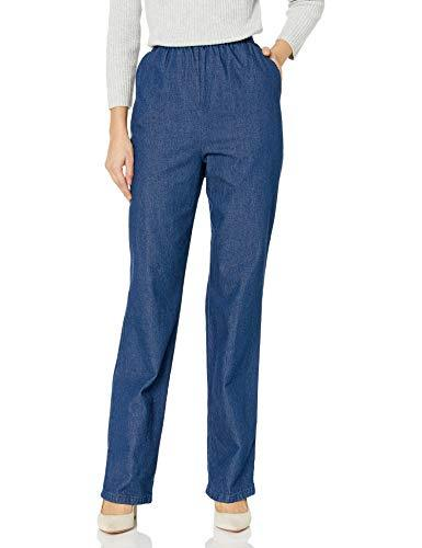 Chic Classic Collection Women's Petite Cotton Pull-On Pant with Elastic Waist, Original Stonewash Denim, 16P - PRTYA