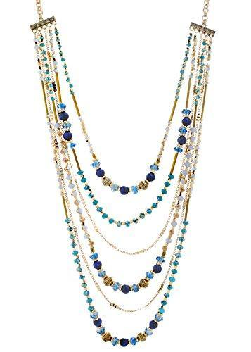 CATHERINE MALANDRINO 26-39 Inch Blue Tone Beaded Multi-Strand Chain Yellow Gold-Tone Necklace for Women