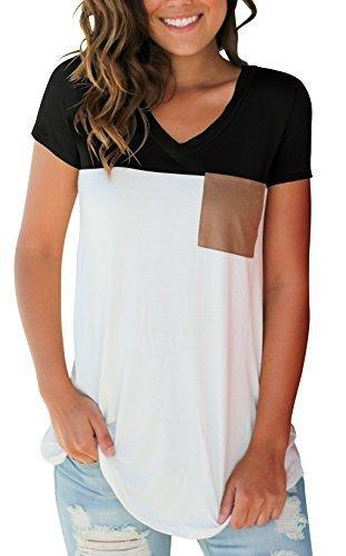 SAMPEEL Women's Basic V Neck T Shirt Suede Pocket Tee Top Blouse Black M