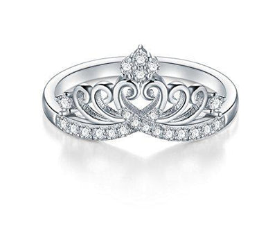 BORUO 925 Sterling Silver Cubic Zirconia Princess Crown Tiara Wedding Cz Band Eternity Ring Size 8.5