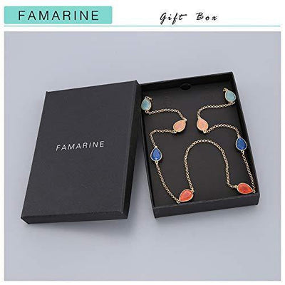FAMARINE Multicolor Resin Beaded Chain Long Scatter Necklace for Girls Women, Red Blue Green Orange