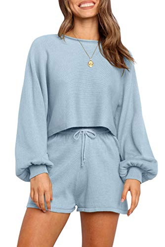 ZESICA Women's Casual Long Sleeve Solid Color Knit Pullover Sweatsuit 2 Piece Short Sweater Outfits Sets Blue