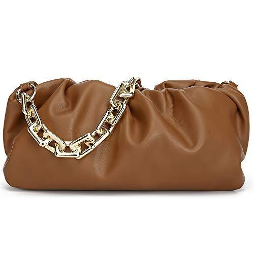 CATMICOO Chunk Chain Dumpling Bag Cloud Clutch Purse for Women with Ruched Detail (Brown)