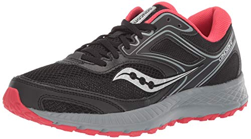 Saucony Women's VERSAFOAM Cohesion TR12 Trail Running Shoe, Black/Grey/Hibiscus, 8.5 M US