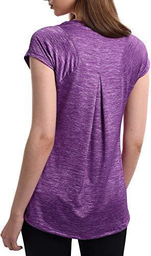 Workout T-Shirt Women's Ultimate Short-Sleeve Running Yoga Fitness Sports Tshirts (Purple, XL)