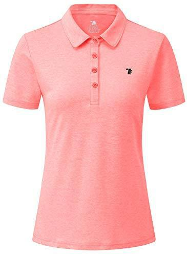 Rdruko Women's Dry Fit Golf Shirts Moisture Wicking Short Sleeve Polo Sports Shirts(Fluorescent Pink, US M)