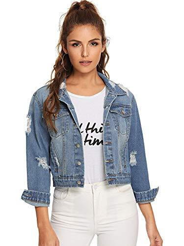 Floerns Women's Long Sleeve Basic Button Down Wash Denim Jean Jacket Blue M