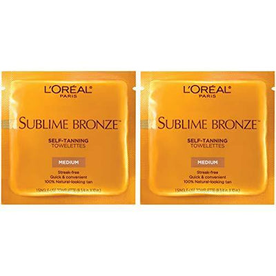 Self Tanner, L'Oreal Paris Skincare Sublime Bronze Sunless Tanning Towelettes, Fast-Drying, Streak-Free Self-Tanner, Suitable for all Skin Types, 2 Count