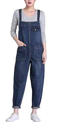 Gihuo Women's Baggy Denim Jean Overalls (Large, Dark Blue)
