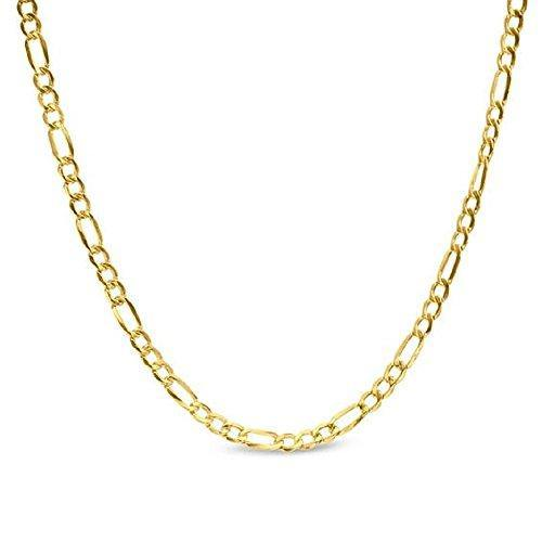 14K Yellow Gold 2.5mm, 3.5mm, 4.0mm, or 5.5mm Figaro Link Chain Necklace- Made In Italy- Multiple Lengths Available (24, 2.5MM)