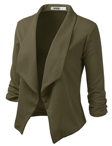 Doublju Womens Casual Work 3/4 Sleeve Open Front Blazer Jacket with Plus Size Olive Small - PRTYA