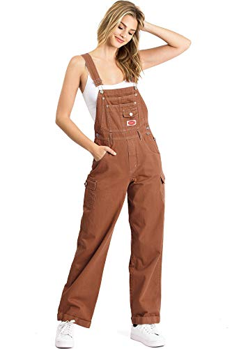 Revolt Women's Juniors Baggy Straight Leg Cotton Twill Overalls (L, Rust)