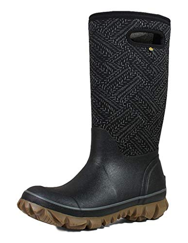 BOGS Women's Whiteout Waterproof Insulated Winter Rain Boot, Fleck Print -Black Multi, 8