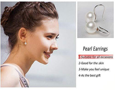 925 Sterling Silver Hoop Handpicked AAA+ Quality 7.5-8mm White Freshwater Cultured Pearl Dangle Drop Earrings Jewelry for Women Girls