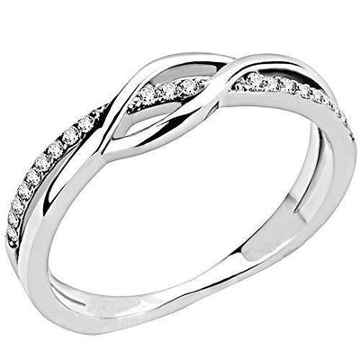 Jude Jewelers Stainless Steel Waved Knot Engagement Wedding Promise Anniversary Statement Ring (Silver Clear, 6.5)