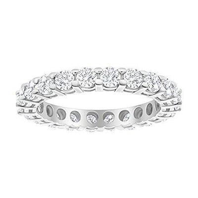 1 Carat (ctw) 14K White Gold Round Diamond Ladies Eternity Wedding Anniversary Stackable Ring Band Premium Collection