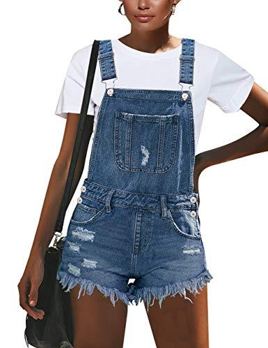 GRAPENT Women's Light Blue Ripped Adjustable Strap Distressed Bib Denim Short Jeans Overalls Size Large US 12-14
