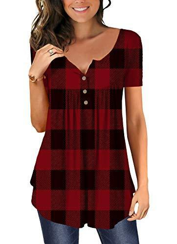 Womens Red Plaid Shirts Short Sleeve with Buttons V Neck Pleated Front Top XL
