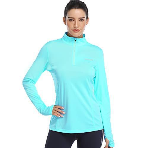 HISKYWIN Womens UPF 50+ Sun Protection Tops Long Sleeve Half-Zip Thumb Hole Outdoor Performance Workout Shirt HF806 Light Green M