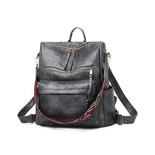 Women Fashion Backpack Purse, Convertible Ladies Daypack Colorful Strap Shoulder Bag Handbags, Gray